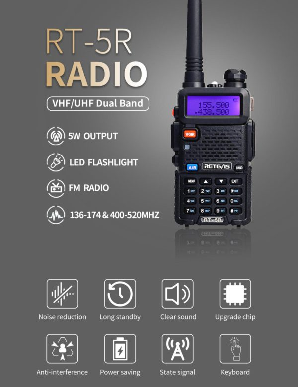 RETEVIS RT5R Handy Walkie Talkie 5W VHF UHF Ham Amateur Radio Station Two-way Radio Airsoft Game Walkie-Talkie for Baofeng UV-5R 1
