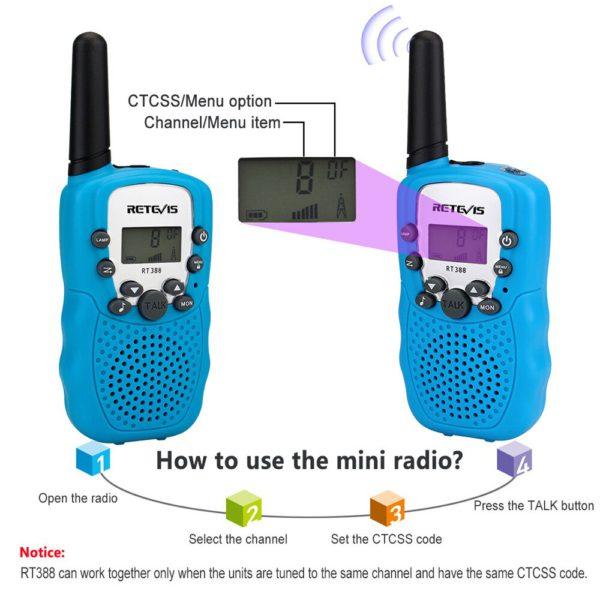 2 шт. Retevis RT388 детская рация детская игрушка радио 0,5 Вт ПМР PMR446 ФРС VOX фонарик 2 портативных радиостанций КВ трансивер 3