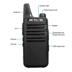 RETEVIS RT622 RT22 Mini PMR Walkie Talkie 2 pcs PMR446 PMR 446 Radio FRS VOX Handsfree Woki Toki Pair Two-way Radio Comunicador 3
