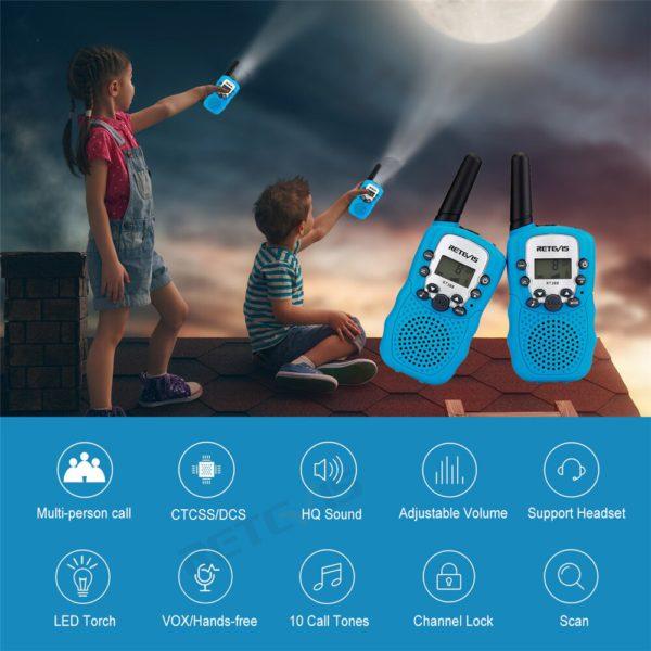 2 шт. Retevis RT388 детская рация детская игрушка радио 0,5 Вт ПМР PMR446 ФРС VOX фонарик 2 портативных радиостанций КВ трансивер 2