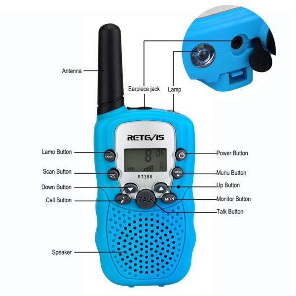 2 шт. Retevis RT388 детская рация детская игрушка радио 0,5 Вт ПМР PMR446 ФРС VOX фонарик 2 портативных радиостанций КВ трансивер 1