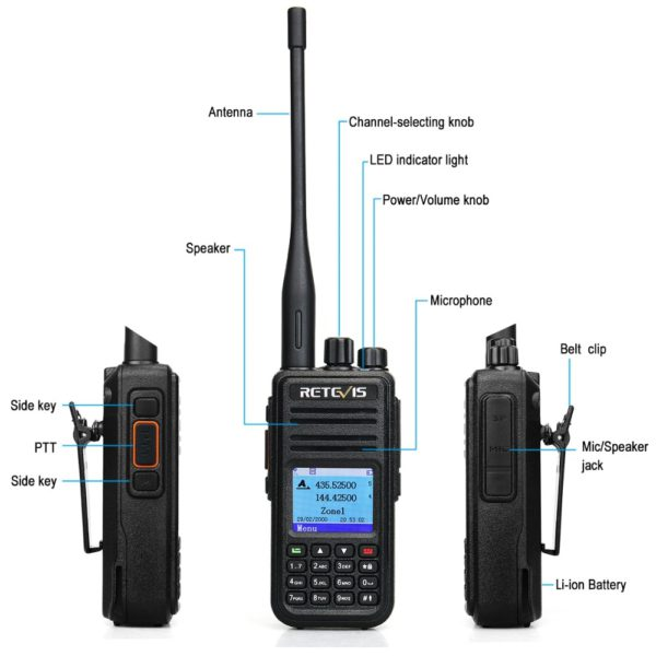 RETEVIS RT3S DMR Radio Digital Walkie Talkie GPS DMR Ham Radio Amador 5W VHF UHF Dual Band Encryption Compatible with Mototrbo 2