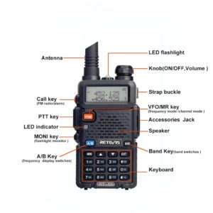 RETEVIS RT5R Handy Walkie Talkie 5W VHF UHF Ham Amateur Radio Station Two-way Radio Airsoft Game Walkie-Talkie for Baofeng UV-5R 4